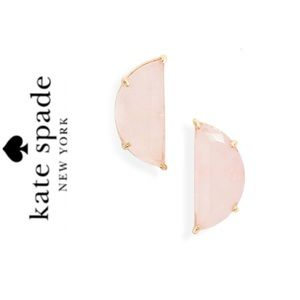 NWT Kate Spade half moon stone studs gold blush